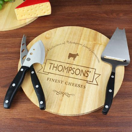 Personalised Cheese Label Cheese Board with Cheese Knives